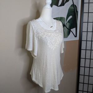 Anthro Deletta Boho Crocheted Textured Flowy Top